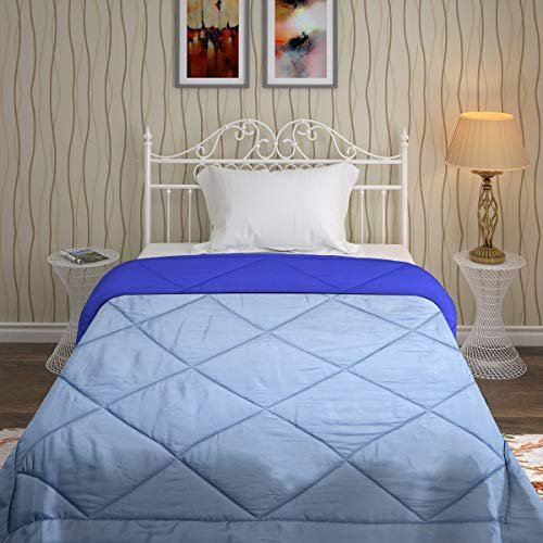 Bombay Dyeing Cynthia Solid Polyester Single Bed Reversible Comforter - Dark Blue and Grey ()