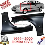 New Front Fender For 1999 - 2000 Honda Civic DX Coupe/EX Coupe/GX Sedan /HX Coupe/Si Coupe/Value Package Sedan Left Hand Side & Right Hand Side OE Replacement Primed Steel Set of 2 HO1240151 HO1241151