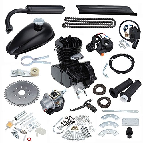 PanelTech 48CC 49CC 50CC 2 Stroke Engine Gas Kit fits 26' 28' Motorized Mountain Bicycle Bike (Black)