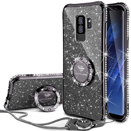 Galaxy S9 Plus Case, Glitter Bling Diamond Rhinestone Bumper Cute Galaxy S9 Plus Phone Case for Girls with Ring Kickstand Sparkly Protective Samsung Galaxy S9 Plus Case for Girl Women - Black
