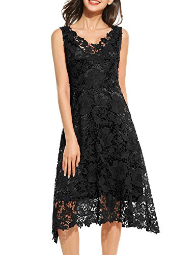 Unibelle Women's V Neck Sleeveless Pleated Lace Mini Party Evening Cocktail Dress