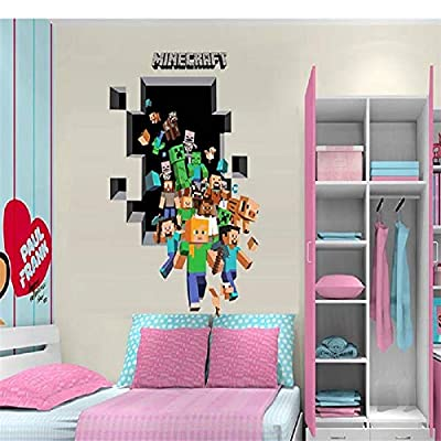 Epic Gifts Minecraft Wall Decal Sticker 3D Cartoon Wallpaper Family Group Home Decoration Boys Room Peel and Stick