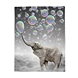 WAZZIT Cute Animal Flannel Throw Blanket 60x80 inch Lightweight Plush Microfiber Fleece Comfy Gift Blankets for Bed Couch, Elephant Blow Bubbles