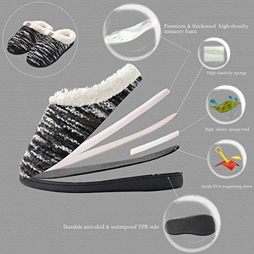 Black Fleece Slippers Comfort Foam Slippers Memory Like Lined Men's House Shoes Breathable INFLATION Women's Women Wool Plush qtZ8Fx