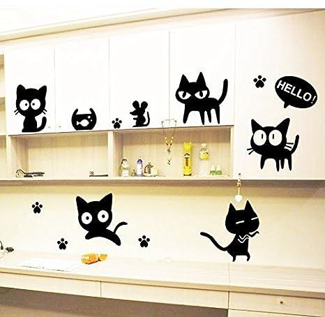 Amazon.com: Mr.S Shop Cute Cartoon Black Cat Wall Decal for Kids Room Home Decor Cartoon Cat Wall Sticker Waterproof Sticker: Home & Kitchen