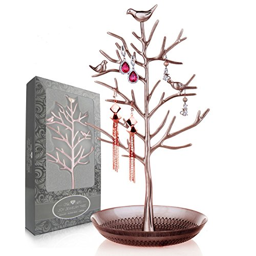 Joy Jewelry Tree | Luxurious Jewelry Stand Display Rack Tower. Size: Tall and Large (6 x 13 Inches). Necklace Earring Bracelet Anklets Holder Organizer. Color: Antique (Lenox Elegance Crystal)