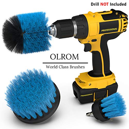 Drill Attachment Power Scrubber – Turbo Scrub Kit of 3 Scrubbing Brushes – All Purpose Shower Door, Bathtub, Toilet, Tile, Grout, Rim, Floor, Carpet, Bathroom and Kitchen Surfaces Cleaner ()