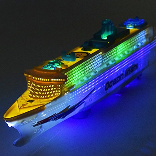 Balai Children Music Ocean Liner Flashing LED Lights Sound Electric Cruises Simulation Boat Toy Model - Miniature Cruise Liner Die Cast Cruise Ship Centerpiece - Toys Kids Christmas Birthday Gift