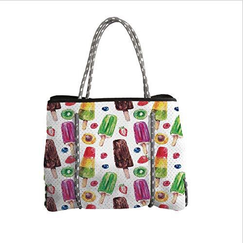 iPrint Neoprene Multipurpose Beach Bag Tote Bags,Sweet Decor,Yummy Cute Vivid Ice Creams with Fruit and Chocolate Flavors Kiwi Watercolor Design,Multi,Women Casual Handbag Tote Bags
