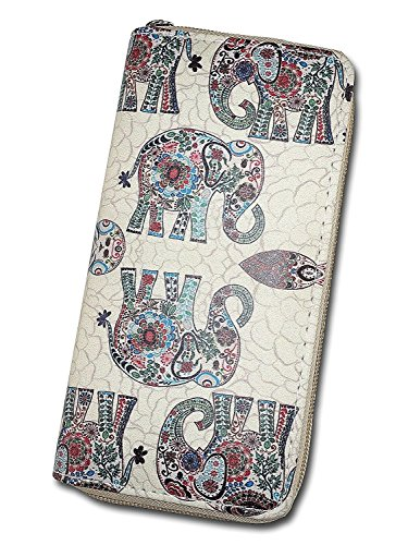 (Ecohaso Women Zip Around Organizer Wallet PU Clutch Long Purse Cartoon Printed Wallet (Elephant B) )