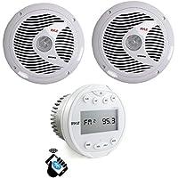 Pyle PLMR90UW Bluetooth Marine ATV USB/Aux White Receiver + 2) 6.5 Speakers