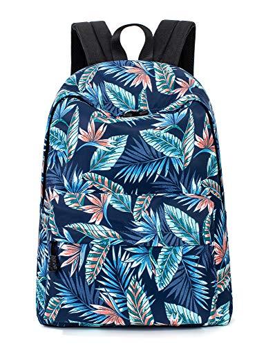 Leaper Leaves Laptop Backpack Girls Daypack Travel Satchel Handbag Dark Blue