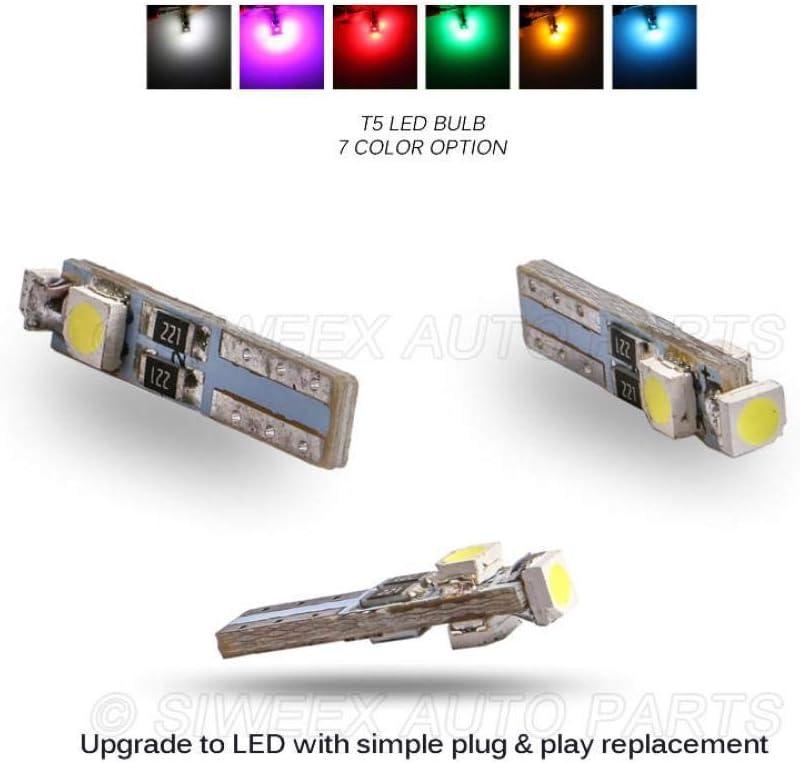 10 Bombillas LED T5 para Coche, 3 ledes, SMD, 3528, cuña, luz LED, lámpara de Tablero, Instrumentos, Blanco, Rosa, Azul Hielo, Rojo, Amarillo, Verde, Azul: Amazon.es: Electrónica
