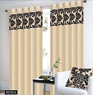 Amazon.de: Roman Vorhange Ornament Barock Beige Braun Vorhänge Mit ... Gardinen Wohnzimmer Beige