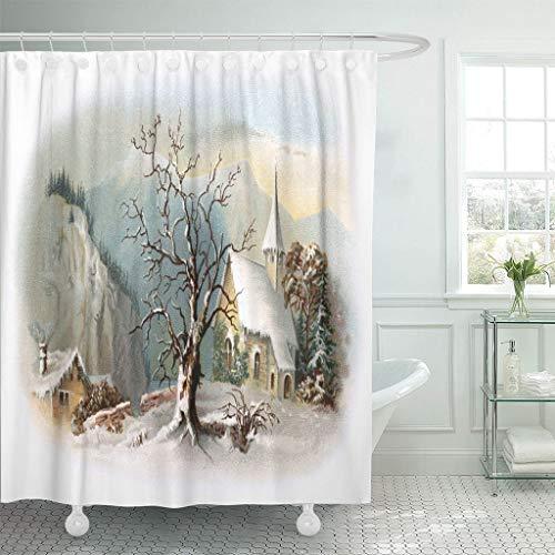 Emvency Waterproof Fabric Shower Curtain Hooks Christmas Snowy Chapel Scene Early 1900S Vintage Winter Ives 60