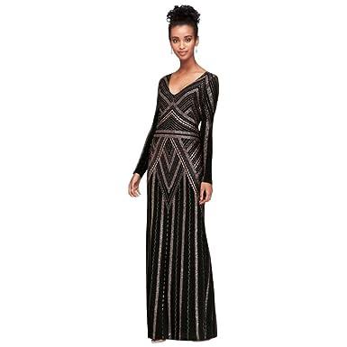 40b397cb976 David s Bridal Long Sleeve Glitter Print Sheath Gown Style 264166D ...