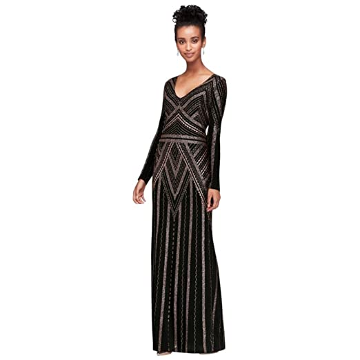 0fe188cd David's Bridal Long Sleeve Glitter Print Sheath Gown Style 264166D, Black  Gold, 4 at Amazon Women's Clothing store: