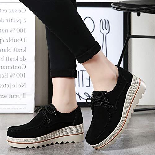 Donna Mocassini Moda Tallone Loafers Nero Camminare tqgold con Guida da 5 Comodo cm 5 Scarpe Zeppa d5vdw