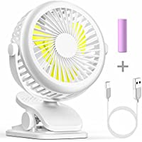 iSPECLE Desk Fan, Portable Mini USB Clip on Fan with Rechargeable Battery, 3 Speeds USB Fan, 360 Degree Adjustable, Fit for USB-Port Device, Cooling for Baby Office Home Study Desktop Table, White