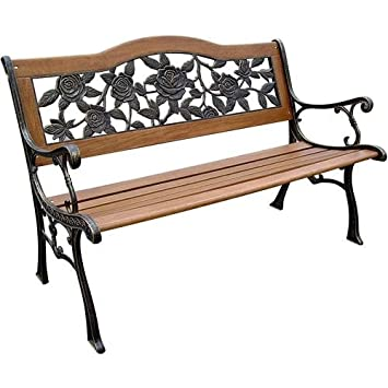 DC America SLP2660BRSP, Rose Resin Back Park Bench, Cast Iron Legs, Rust