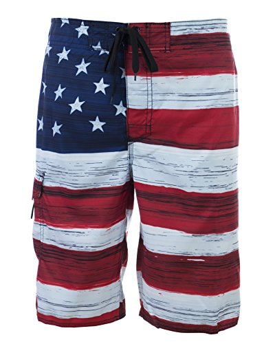 Men's American Flag Inspired Board Shorts Large Red/Blue