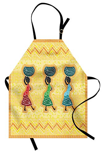 Lunarable African Apron, Mosaic Pattern of an African Scene with Women Carrying Food Basket Traditional, Unisex Kitchen Bib Apron with Adjustable Neck for Cooking Baking Gardening, Yellow