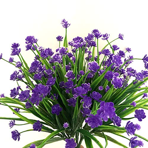 Y wang 6Pack Artificial Flower Fake Daffodils Purple Fake Flower Greenery Shrubs Plants Plastic Bushes Indoor Outside Decor
