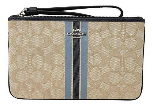 - Coach Large Wristlet in Signature Jacquard with Stripe Khaki Multi F43009