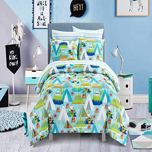 - 7 Piece Kids Boys Blue Green Camping Comforter Set Full Sized, White Red Picnic Bedding Outdoor Camp Bed in Bag Tents Trees Firewood Arrow Sunny Day Wilderness Forest Jungle Adventure, Polyester