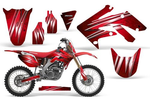 CreatorX Honda Crf 250 R Graphics Kit Decals Stickers Cold Fusion Red Incl. Number Plate Graphics