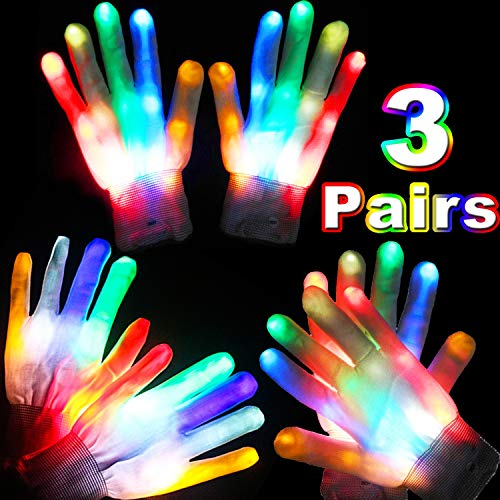 3 Pairs LED Gloves Flashing Light Up Skeleton Gloves for Kids Teens Colorful Glow in the Dark Party Favors Birthday Halloween Christmas Costume Clubbing Classroom Neon Rave Party Supplies (6 Modes)