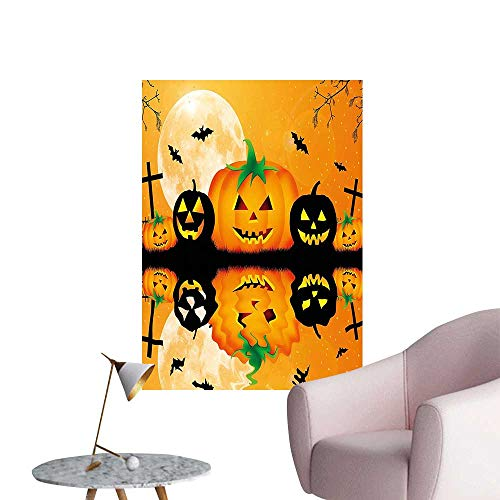 Wall Stickers for Living Room Carved Halloween Pumpk Full Mo Bats Grave by Lake Orange Black Vinyl Wall Stickers Print,16