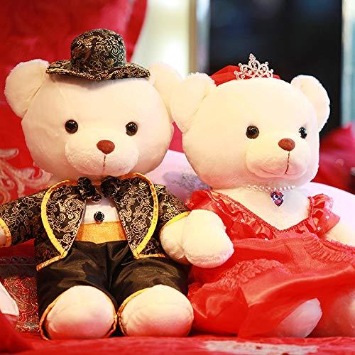 DONGER Kreative Hochzeitsgeschenk Hochzeit Bär Plüsch Spielzeug Hochzeit Hochzeit Presse Puppe Ein Paar Stoff Puppe Liebhaber Puppe  ,  Drachen  Und  Phoenix Schwarz  +  Krone Hochzeitskleid  , 60  Cm
