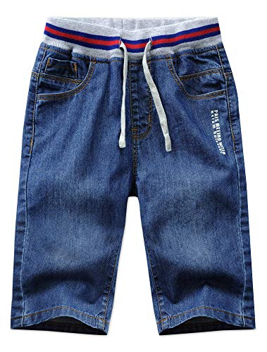 JiaYou Child Boy Mid Waist Elastic Straight Stretch Summer Capris Cropped Denim Jeans Shorts(1#Blue,8 Years)