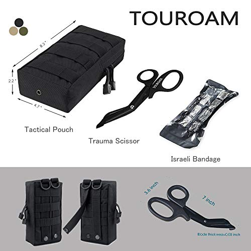 TOUROAM Trauma Medical First Aid Kit -Tactical Emergency Israeli Bandage-Survival Military Combat Tourniquet-Small IFAK… 2