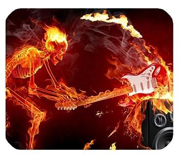 Esqueleto calavera llamas fuego llamas Burning guitarra sonido Audio altavoces papel pintado customized Rectángulo alfombrilla de ratón: Amazon.es: Oficina ...