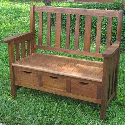 International Caravan VF-4124-IC Furniture Piece 3-Drawer Acacia Bench w/Arms