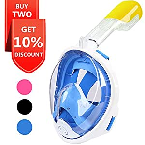 Snorkel Mask, Explomos Diving Snorkeling Mask with Gopro Mount 180° Full Face Panoramic View Anti-Fog Anti-Leak Easybreath Dry Snorkeling Scuba Dive Equipment Safety for Adults Youth Kids(Blue S)