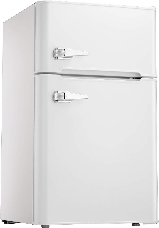 Tavata 3.2 Cu Compact Refrigerator Double Door Mini Fridge with Top Door Freezer,Small Drink Chiller for Home, Office,Dorm or RV White