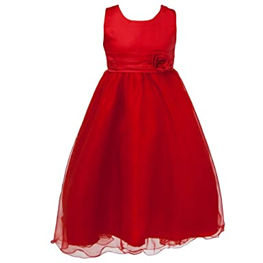 Girls Rose Band Flower Tulle Sleeveless Long Formal Kids Party Dress Age 3- 12 - Prom Bridesmaid: Amazon.co.uk: Clothing