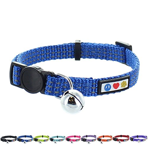 Pawtitas Reflective Cat Collar with Safety Buckle and Removable Bell Cat Collar Kitten Collar Blue Cat Collar