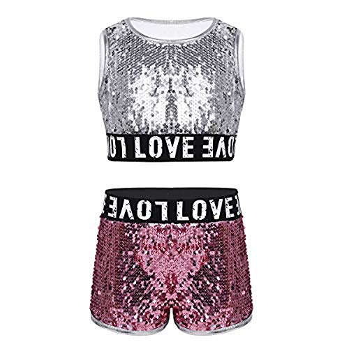 inlzdz Kids Girls Kids Girls Hip-hop Jazz Latin Performance Costumes Sequins Crop Top with Bottoms Street Dance Silver -