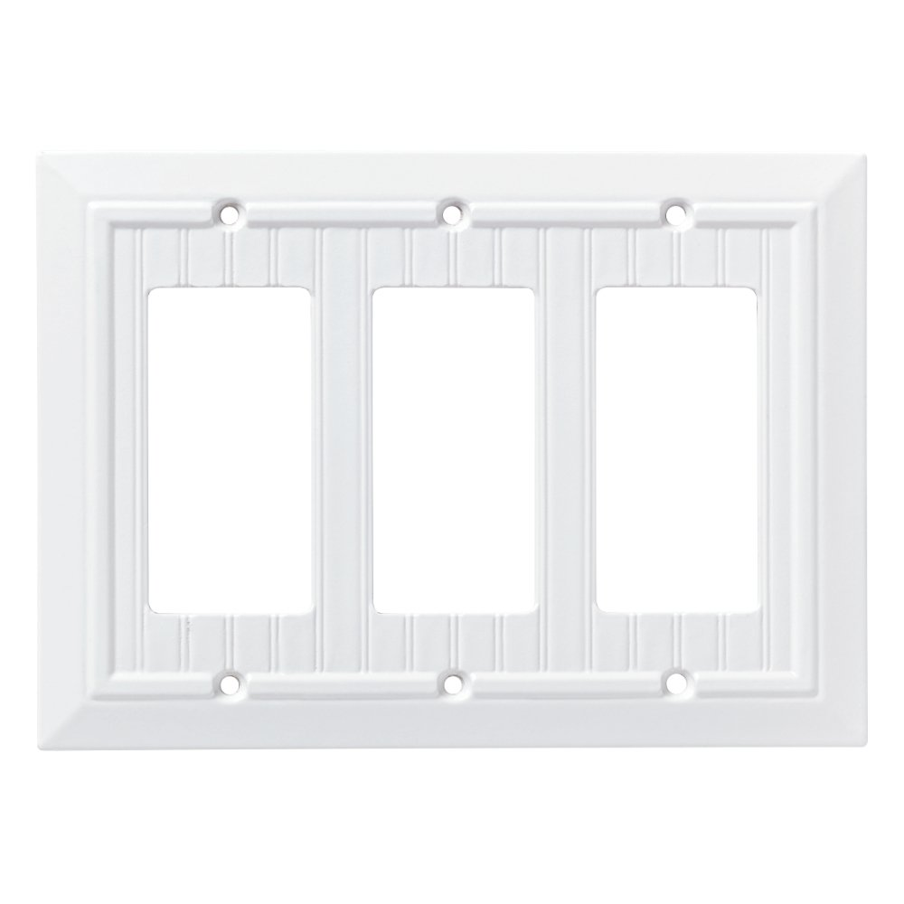 Franklin Brass W35274-PW-C Classic Beadboard Triple Decorator Wall Plate/Switch Plate/Cover, Pure White