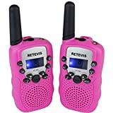 Retevis RT-388 Kids Walkie Talkies UHF 462.5625-467.7250MHz VOX 22CH Portable FRS/GMRS Two Way Radio with Flashlight (Pink,2 Pack)