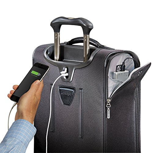 Travelpro Luggage Crew 11 21″ Carry-on Expandable Spinner w/Suiter and USB Port, Black
