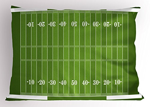 Ambesonne Football Pillow Sham, Sports Field in Green Gridiron Yard Competitive Games College Teamwork Superbowl, Decorative Standard Size Printed Pillowcase, 26 X 20 Inches, Green White