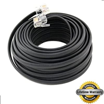 BoostWaves 50' Foot Black Telephone Extension Cord Cable Line Wire RJ-11 LifeTime Warranty from Unique Imports