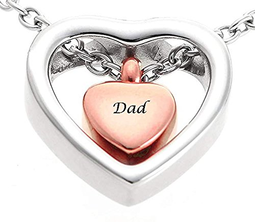 (Tammy Jewelry Stainless Steel Dad Urn Necklace for Ash Personalized Double Rose Gold Heart Charming Cremation Jewelry Waterproof Pendant Urn)