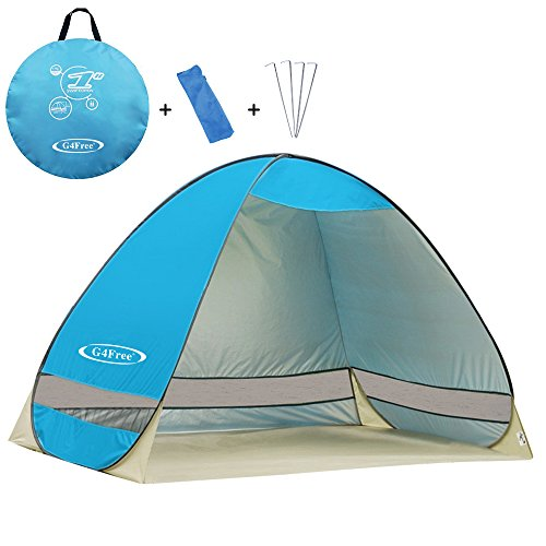 G4Free Outdoor Automatic Pop up Instant Portable Cabana Beach Tent 2-3 Person Camping Fishing Hiking Picnicing Anti UV Beach Tent Beach Shelter, Sets up in Seconds(Light Blue)