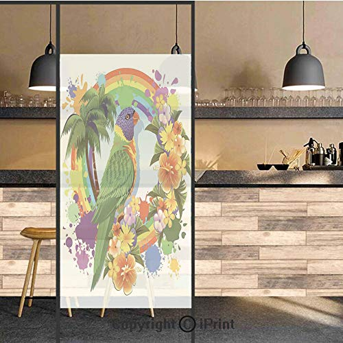 3D Decorative Privacy Window Films,Parrot Lorikeet in Rainbow Circle with Palm Trees Tropical Plants Flowers Colorful Art Print,No-Glue Self Static Cling Glass film for Home Bedroom Bathroom Kitchen O